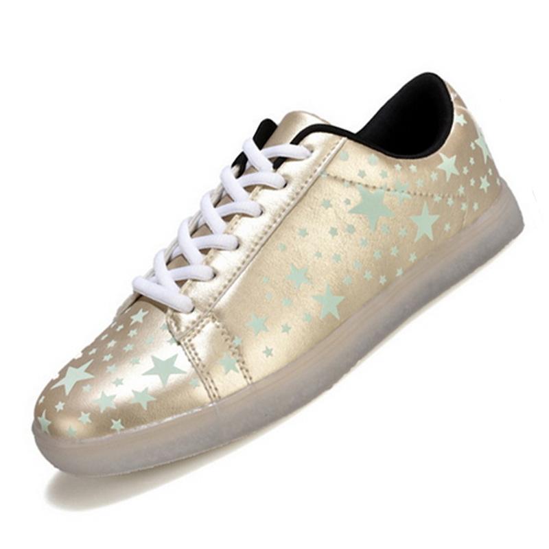 New Arrival Light LED Men Shoes Hip Hop Fashion Man Flat Shoes EU Size 39-44 Star Pattern Cool Man Flats Soft Footwear Glow Shoe