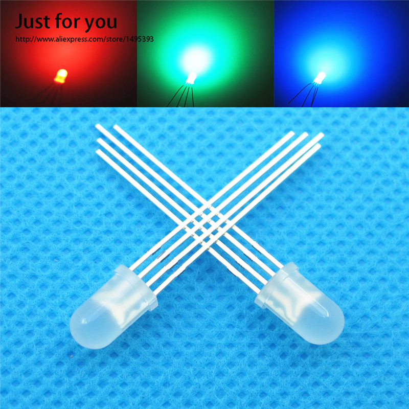 50 5mm diffused Common Cathode RGB LED Red Blue Green Diode Emitting Diodes 4Pin Tri-Color LIGHT 5MM LEDs - just for you store