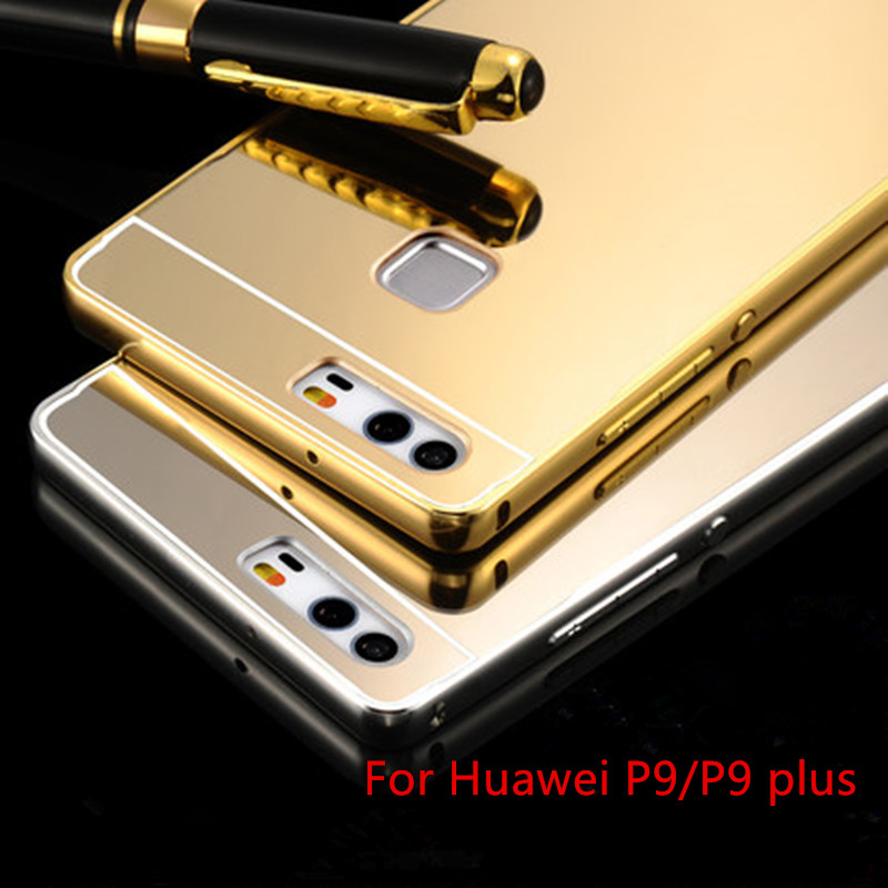 HC01 Hot Sale For Huawei P9/P9 plus Case Luxury Mirror Metal Aluminum+Acrylic Hard Back Cover Phone Bag Accessory Coque Fundas