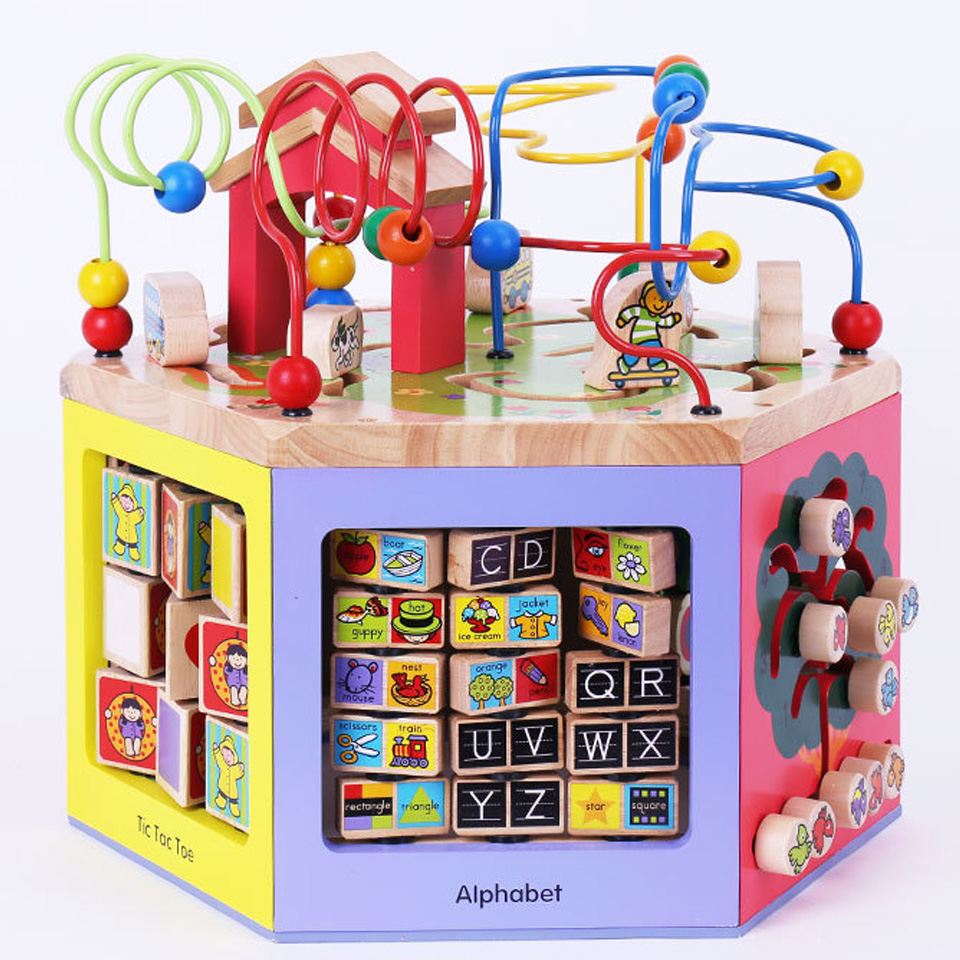 Children 's Educational Toys Intellectual development Kids Wooden Educational Toys Six faces Wood Beads Around The Beads MBF07(China (Mainland))