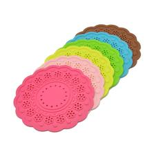 New Hot Silicone Coasters 6 Pack Color Random Round Cup Mat Lace Cup Color Vary Romantic Elegant Stain Resistant Free Shipping (China (Mainland))