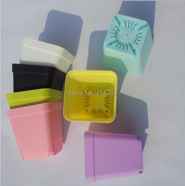 2018 Wholesale Multicolor Mini Square Plastic Vase With Tray