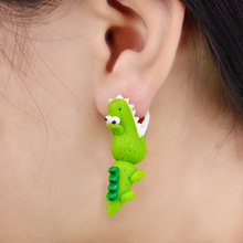 Handmade Polymer Clay Crocodile Dinosaur Stud Earring For Women Animal Earrings Fine Jewelry  Fashion Girl Earring 1 pair  4111(China (Mainland))