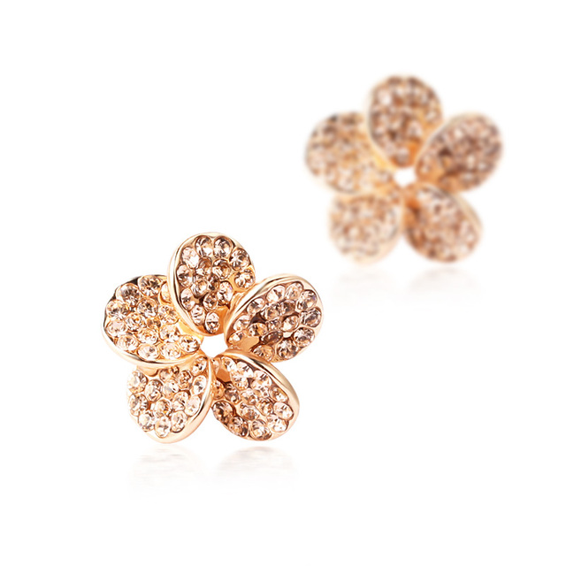 Free Shipping Full rhinestone no pierced stud earring cushiest earrings fashion flower accessories 190  Min Order $20