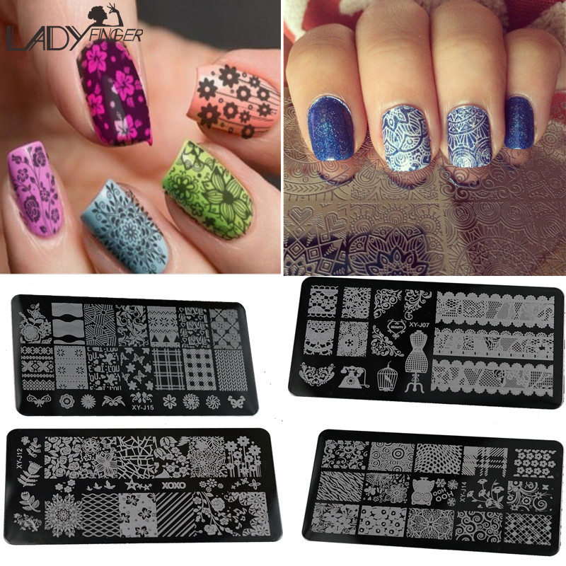 Lady Finger 1 Pcs Nail Art Stamp Stamping Image Plate 6*12cm Stainless Steel Nail Template Manicure Stencil Tools XYJ01-16(China (Mainland))