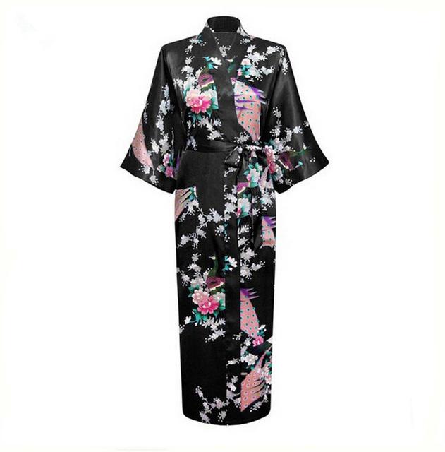 Чернокожих женщин кимоно халат халат ночная сорочка пижамы атласа Большой размер ...