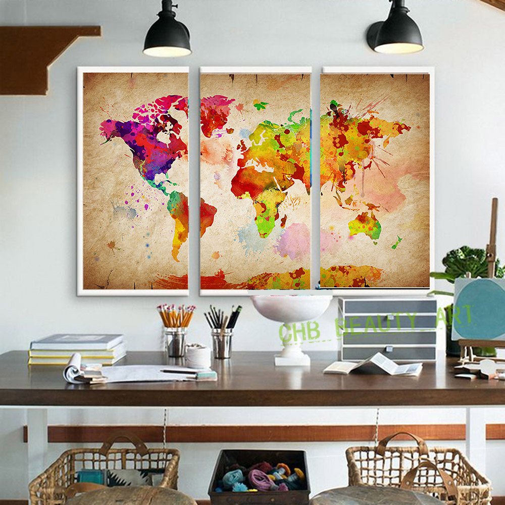 3 pieces canvas wall art canvas painting World Watercolor Map landscape wall Pictures for living room HD print(China (Mainland))