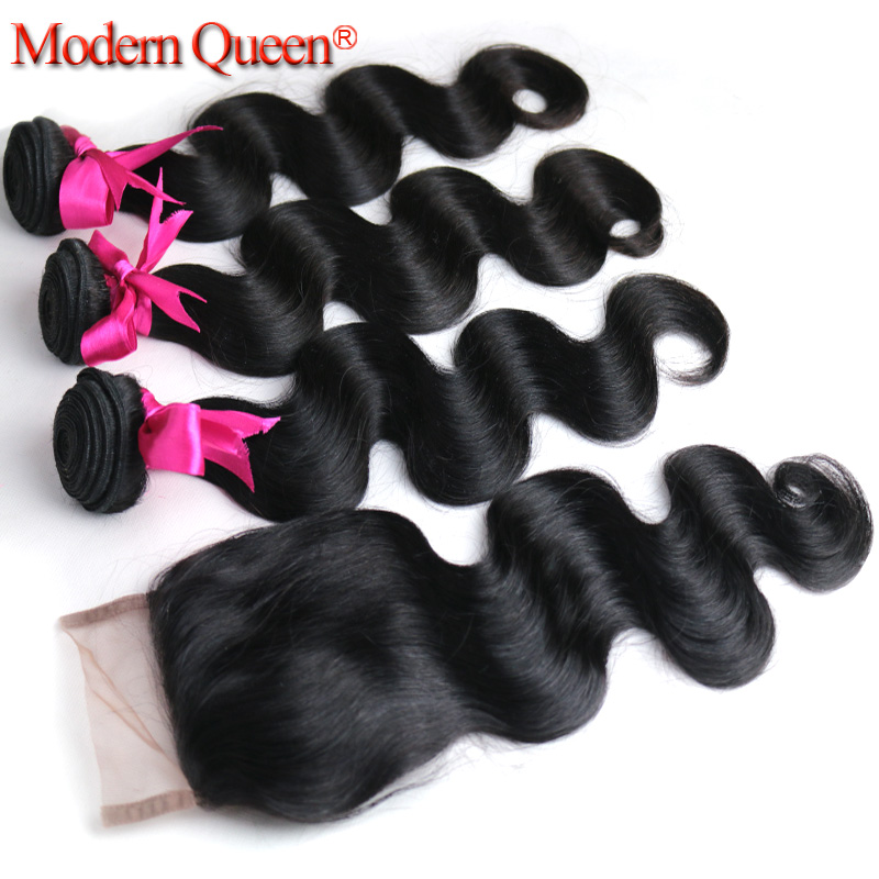 Peruvian Virgin Hair with Closure 4pcs lot 3 Bundles with Lace Closure 7A Unprocessed Human Hair Peruvian Body Wave with Closure<br><br>Aliexpress