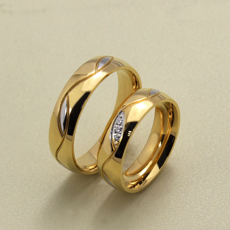 Picture about fashion CZ diamond couple rings for men women 18k gold ...
