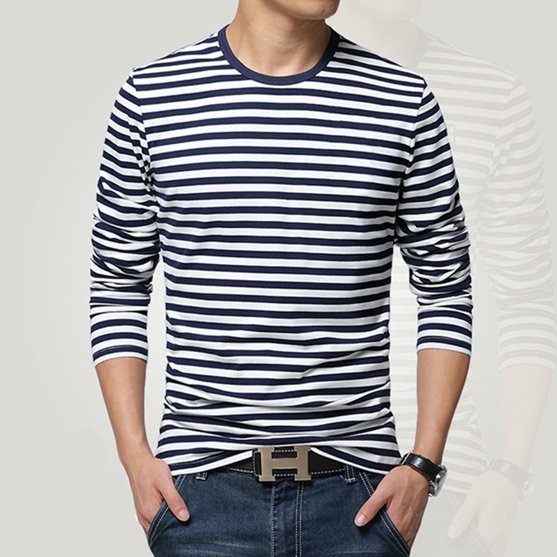 Navy style long-sleeve shirt men T-shirt o-neck stripe t navy vintage basic 95% cotton - HAN GE's store