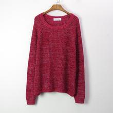 2016 Spring New Style Women Pullover Knitted Sweater Plus Size Mixed Color O-Neck Fashion Casual Dress(China (Mainland))