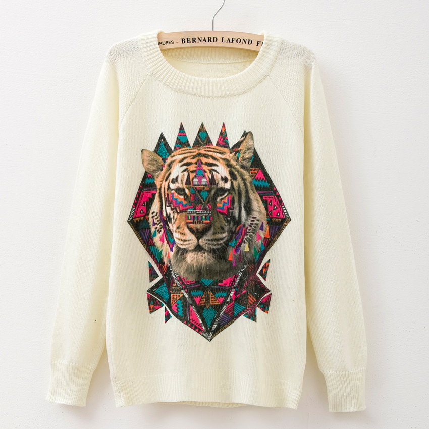New Fashion Women Sweater Printing Carton Tiger Pullovers Long Sleeve Harajuku colourful Mash Up Casual Knitwears(China (Mainland))