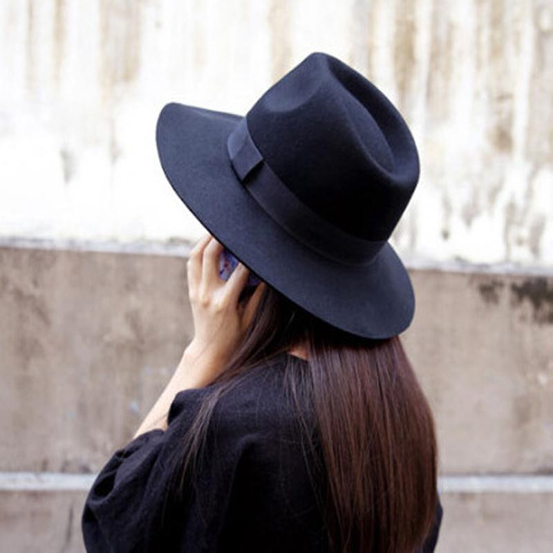 2015 s black hat wool solid bow floppy felt hats