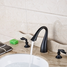 Buy Luxury Oil Rubbed Bronze Bathroom Basin Faucet 3 Holes 2 Swan Handles Mixer Tap for $98.56 in AliExpress store
