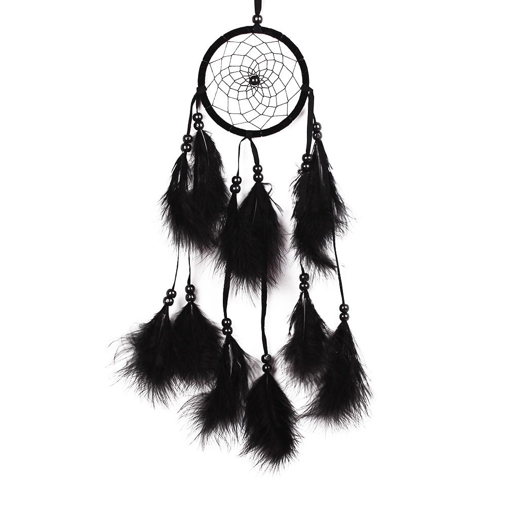 ASLT 1pcs Flower Pattern Dream Catcher With Beads Black Feather Car Wall Hanging Decoration Accessories Handmade Gifts(China (Mainland))