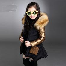 Малыш девушка зимнее пальто девочка теплое пальто хлопка-ватник сгущать меховой воротник досуг хлопок-ватник ветровки пальто