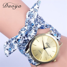 2016 New design Duoya Fashion Women's Flower Star Bow Wristwatch Scarf Band Party Casual Watch High Quality Sweet Girls Watch(China (Mainland))