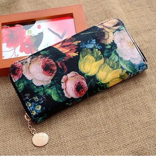 2014 Flower Oil Painting Brand Women Wallet Designer Big Clutch Female Vintage Purses Wristlet Handbags Desigual Carteras QB0075(China (Mainland))