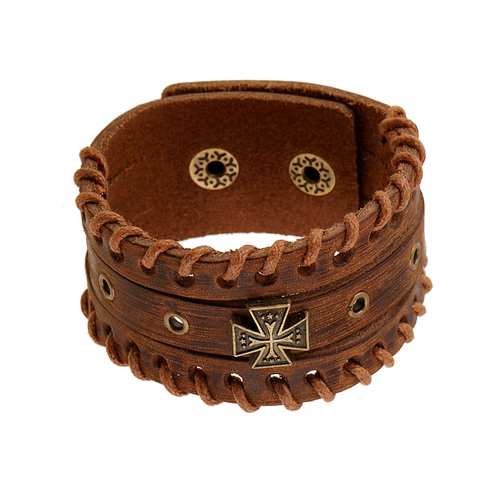 High Quality Brown Unisex Metal Leather Bracelet Cowhide Punk Rock Charm Bracelet Retro Cross Pattern Bling Jewelry(China (Mainland))