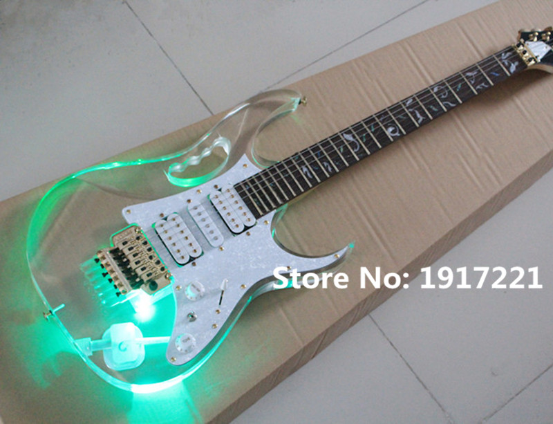 Hot Sale Acylic Glass Electric Guitar with Floyd Rose,Gold Hardwares,Tree of Life Fret Marks Inlay and Green Lights On Body(China (Mainland))