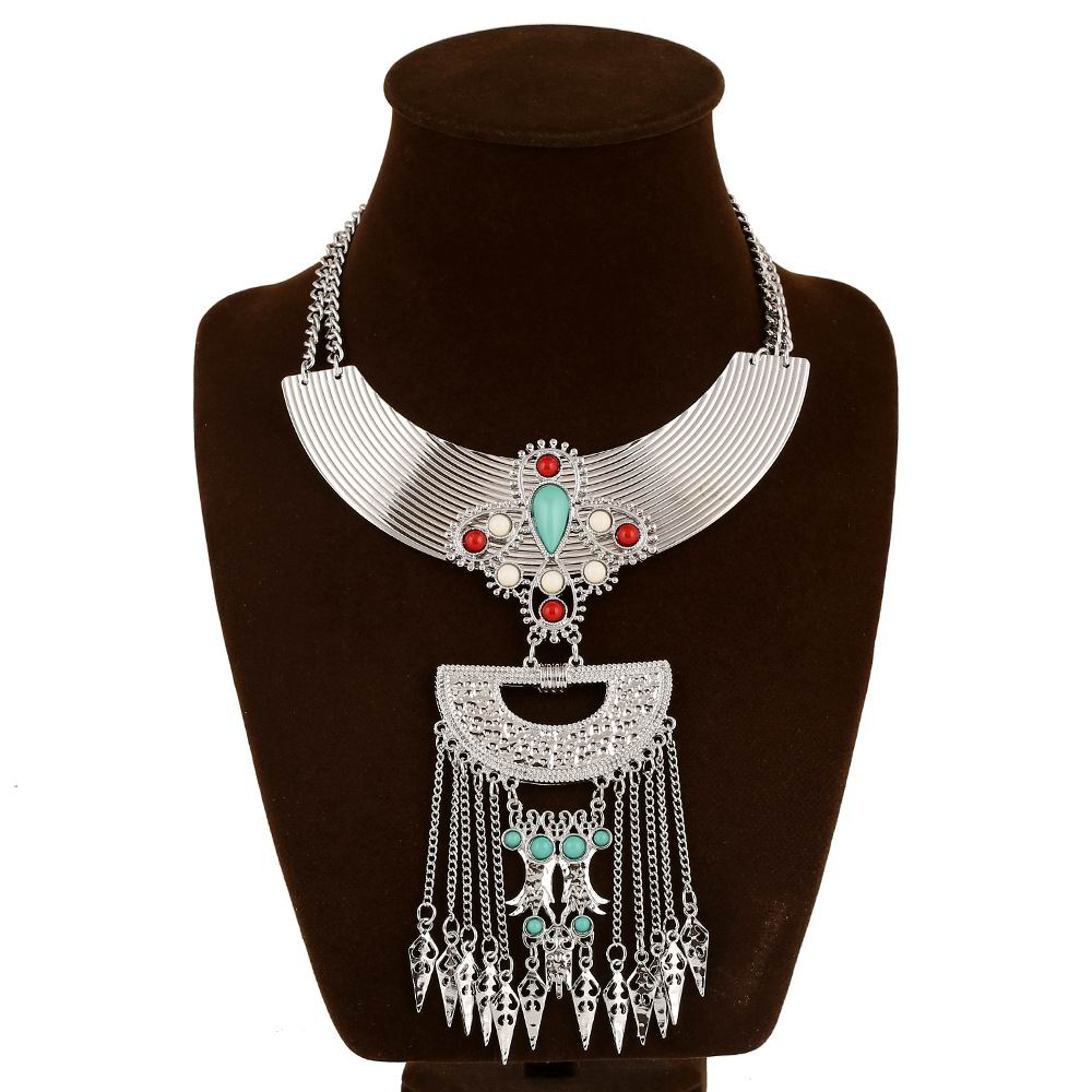 2015 Women Fall Fashion Turquoise Tassel Pendant Necklace ...