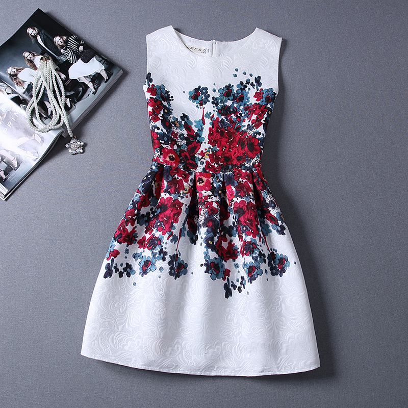 New Fashion sundress summer Style floral Print Party women Summer Dress 2015 Vestidos de Festa Vestidos Casual Free Shipping(China (Mainland))