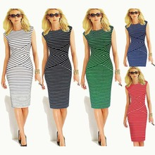2015 Casual Women Black And White Striped Dress Female Elegant Tunic Work Office Bodycon Dresses Party Sheath Sexy Pencil Dress(China (Mainland))