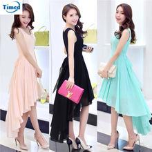 Quality Irregular Lady Dress 2016 Summer New Fashion Elegant Women Dovetail Dress Bohemia Beach Dress Chiffon Dresses For Girls(China (Mainland))