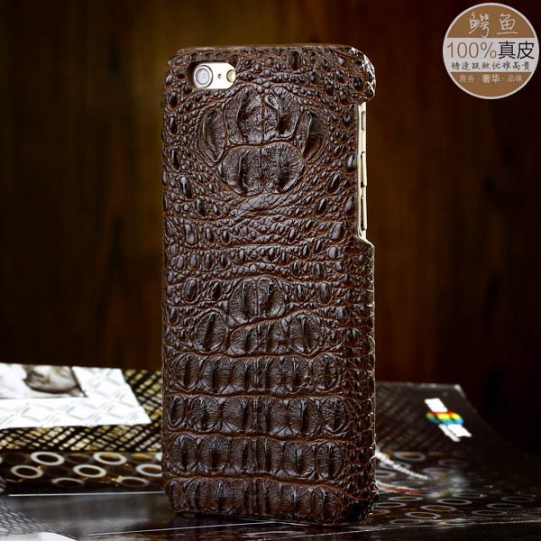 Handmade real clear Siamese crocodile head backside tail skin leather hard Case Cover Protective Shell Apple iPhone 6 6plus - FLYING@anna Phone Accessories store