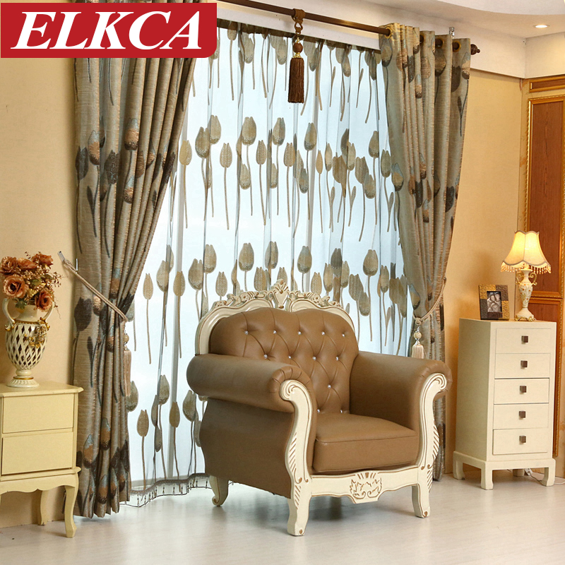 High Quality Grey Tulip European Luxury Curtains For