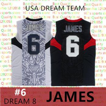 2008 USA dream team #6 lebron james classics basketball Jersey MESH White and Blue JAMES Top quality Basketball Jersey(China (Mainland))