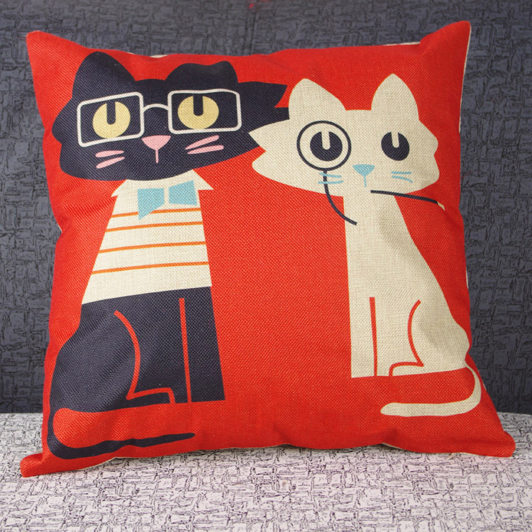 2015 Warm Cute Funny Cat Kitty Black cat Pillow Case Fashion Cushion cover Home Decor Gift for sweet(China (Mainland))