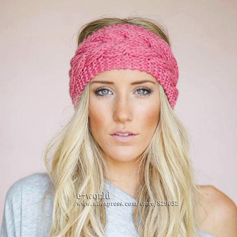 23 Colors Knitted Turban Headbands For Women Winter Warm Crochet Headband Head Wrap Wide Ear Warmer Hairband Hair Accessories(China (Mainland))
