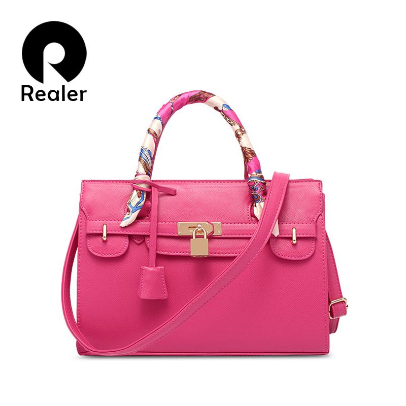 Realer brand luxury handbags women bags designer handbag with scarf lock shoulder messenger bags 2016 fashion pink/blue tote bag(China (Mainland))