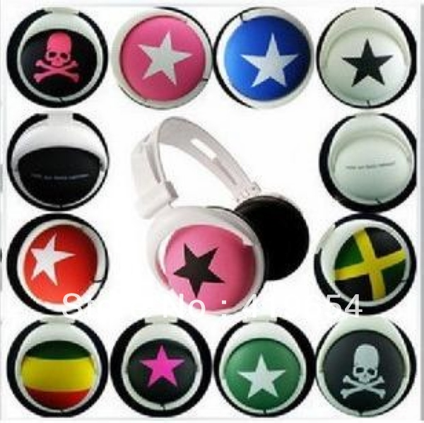3.5mm Mix Style Star Headphone Headset Earphone With Retail Package For MP3 MP4 Player Laptop 5pcs/lot Free Shipping(China (Mainland))