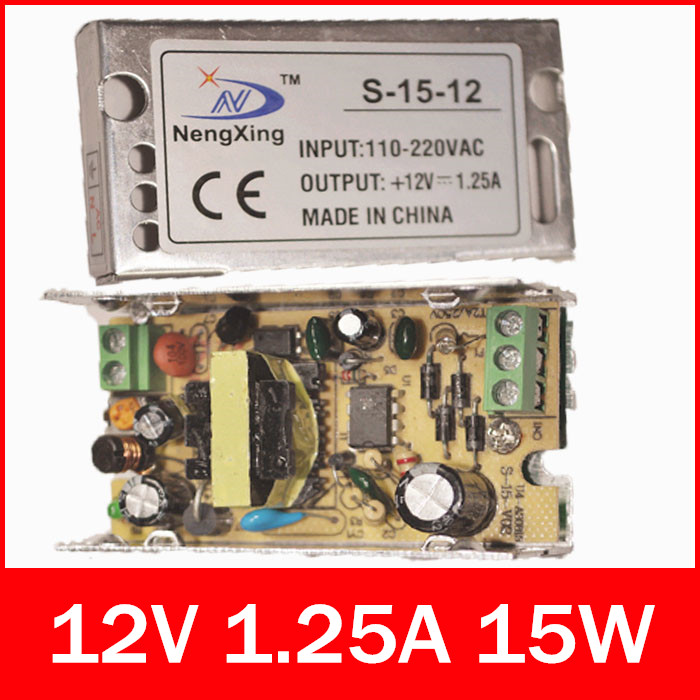 2015 new 1pcs LED Switching Power Supply 15w 12v 1.25A LED monitor power Outdoor Power Monitoring Transformer(China (Mainland))
