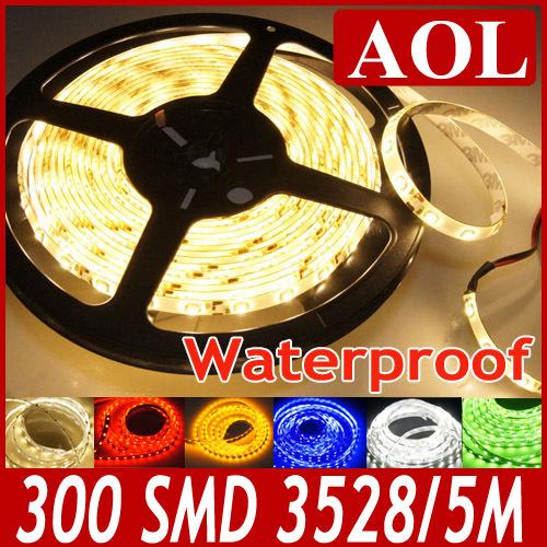 Bright 5m/roll 300 leds Flexible 3528 SMD LED strip light ribbon DC12V single color waterproof IP65 + LED Connection plug(China (Mainland))