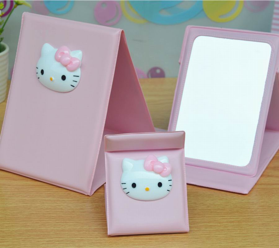 2016 Hello Kitty Girl's Folding Makeup Mirror PU Portable Hand Mirrors Pink Color(China (Mainland))
