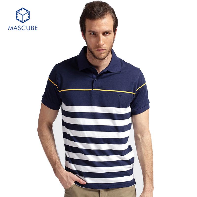 [MASCUBE]Summer Men's Short-sleeved T-shirt Male Turndown Collar Striped Tshirt Golf Shirts For Men Plus Size M-3XL(China (Mainland))