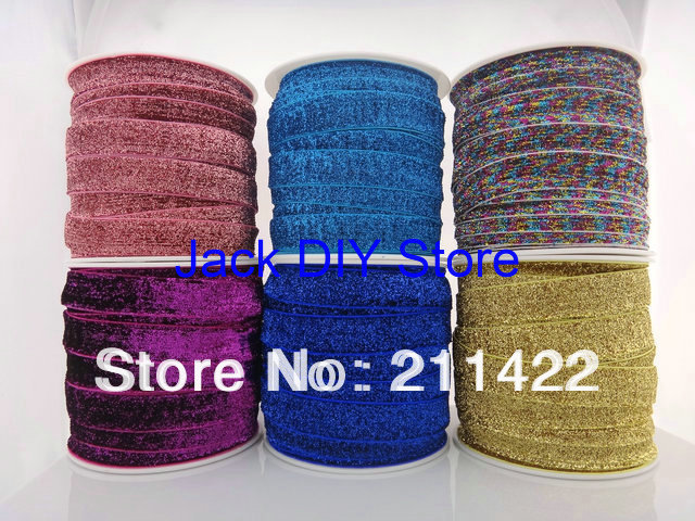 """12rolls 5/8"""" 25yards/roll Frosted Neon Orange Green Pink Glitter Elastic for headband Hair Accessories Free Shipping(China (Mainland))"""