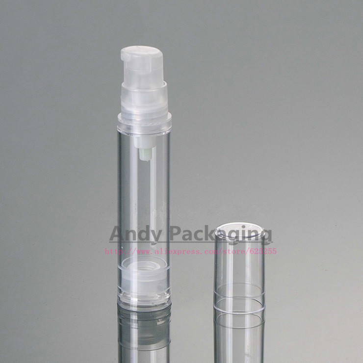 100PCS/LOT-10ML Airless Bottle,Empty Cosmetic Container,Clear Plastic Vacuum Bottle,Sample Lotion Sub-bottling,For Essential Oil(China (Mainland))