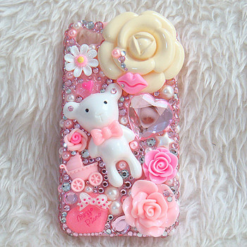 3D Bling Bling Cute Dog Flower Cabochon with Rhinestones DIY Cell phone Deco Kit for iphone 4, 5
