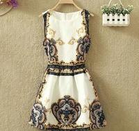 Мода Винтаж vestidos femininos женщин летние платье цветок печати повседневные платья короткой стороной бренда платье vestido де Феста