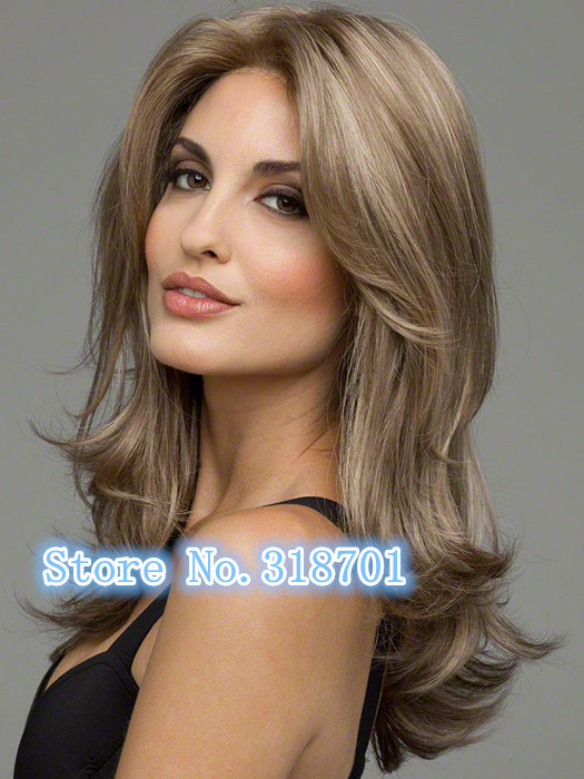 New Beautiful Long Wavy Curly Tapered Blonde Brown mix Lady Fashion Wig womens Wigs<br><br>Aliexpress