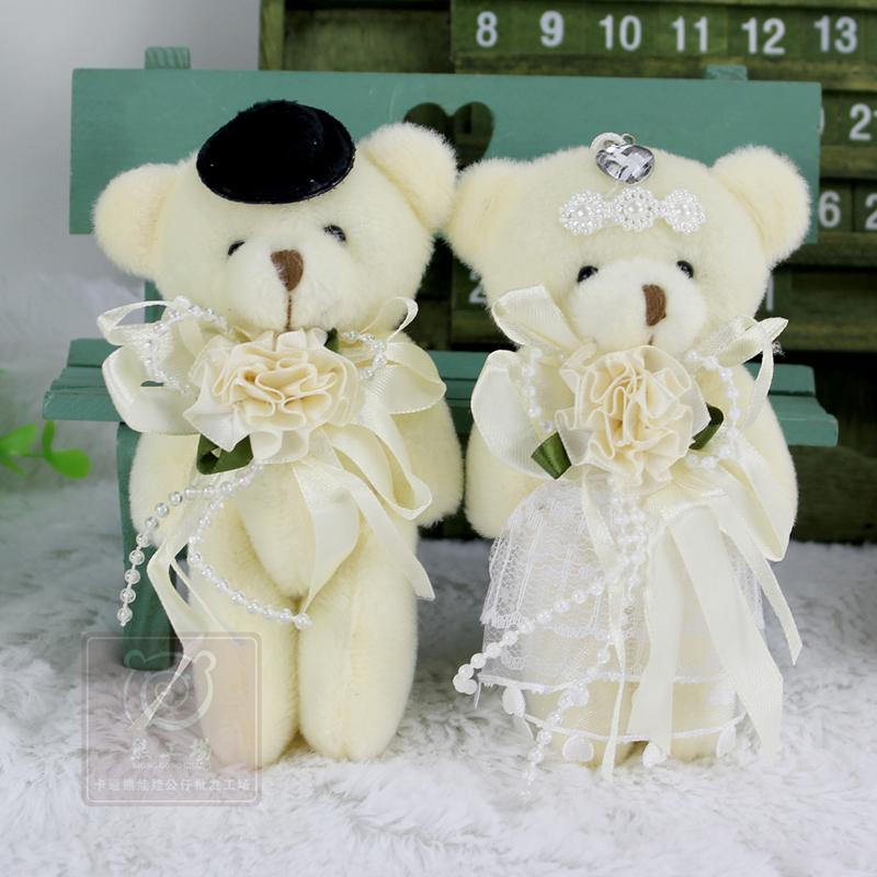 2pcs/pair 12cm Kawaii Stuffed Dolls Couple Bear Wedding Teddy Bear Plush Toys Wedding Gift New Year Christmas Gift Bride & Groom(China (Mainland))