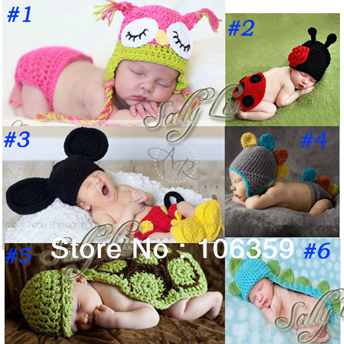 Multi Baby Costume Photography Prop Infant Toddler Crochet Knit Animal Beanie Hat Handmade Baby Hat With Cover 5sets SG038<br><br>Aliexpress