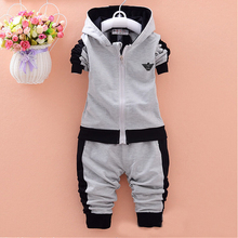 Retail Brand Design Casual Apring Autumn Sports Suit Baby Boys Girls Clothing Sets Zipper long Sleeve Top pants 2pc children set(China (Mainland))