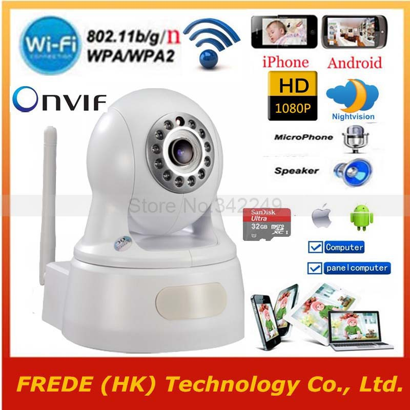 WiFi Wireless IP Security camera,1920*1080P,P2P Pan/Tilt,Two Way Audio,Onvif IR-Cut,SD TF Card,care baby by iphone Andorid PC(China (Mainland))