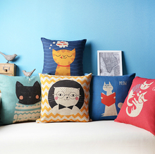 Lovely cat linen American sofa pillow covers cushion pillow for children
