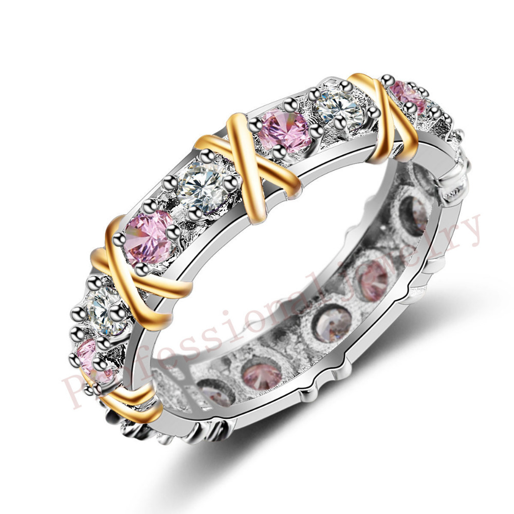 Size 5-11 Handmade Luxury Brand Jewelry Overlay 925 Sterling silver Pink AAA CZ stones Wedding Gold Band Rings for Women gift(China (Mainland))